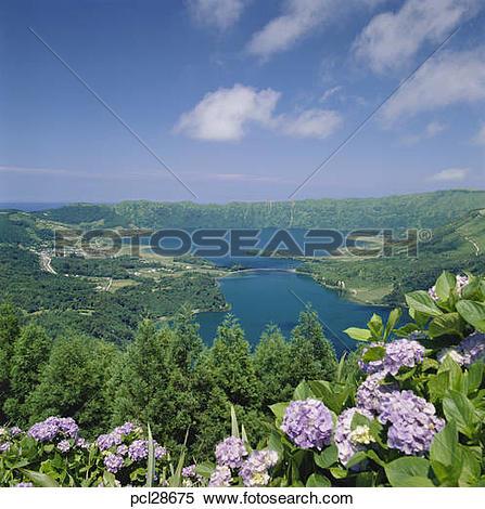 Stock Image of Portugal, The Azores, Sete Cidades Lakes On Sao.