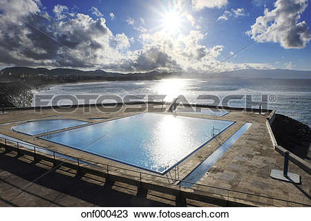 Stock Photo of Portugal, Azores, Sao Miguel, Swimming pool at.