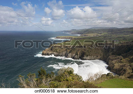 Pictures of Portugal, Azores, Sao Miguel, Cliff line at Ferraria.