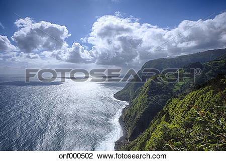 Stock Photo of Portugal, Azores, Sao Miguel, Cliff line at.