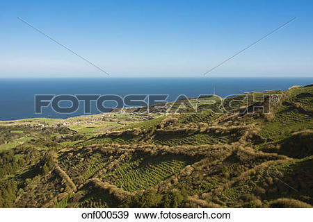 Stock Photograph of Portugal, Azores, Sao Miguel, View above the.