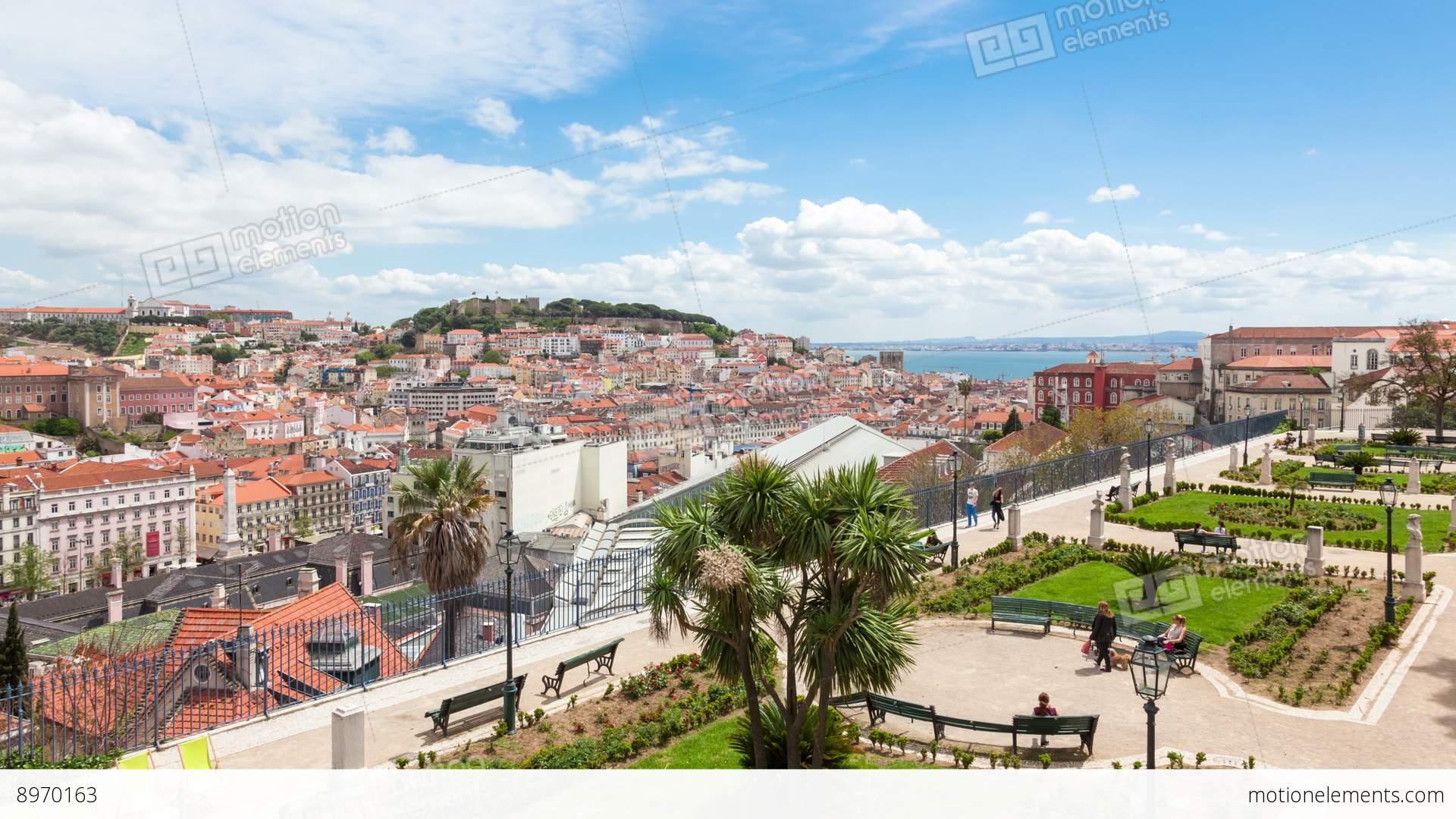 4K Timelapse Of Lisbon Rooftop From Sao Pedro De Alcantara.