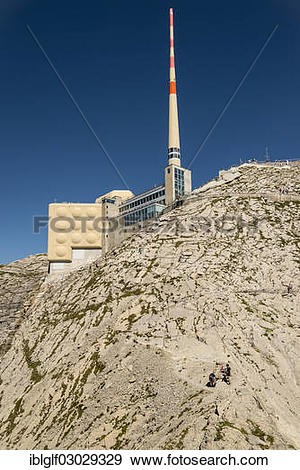 "Stock Photograph of ""Summit restaurant and antenna on Saentis."