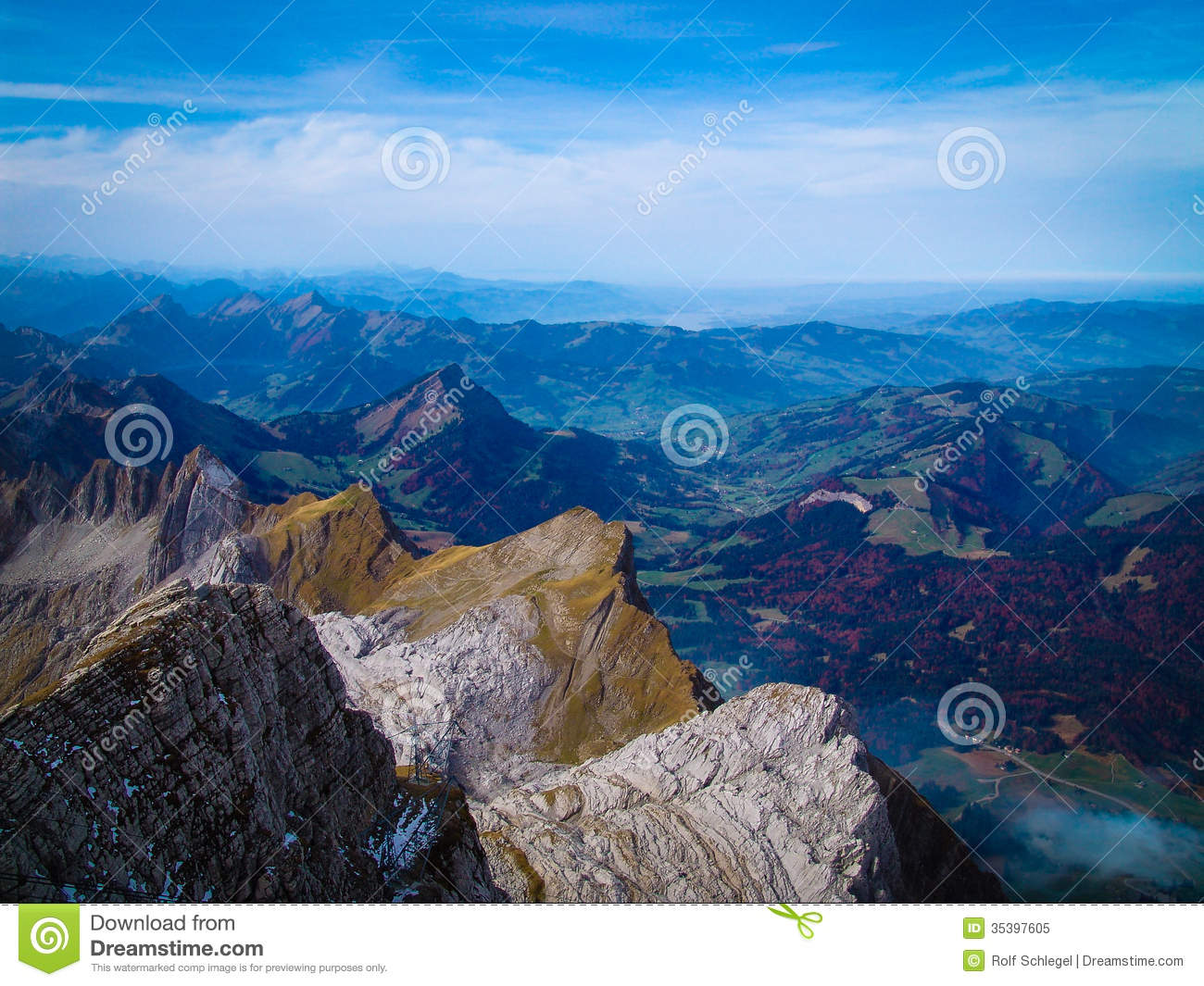 Scenic View From Säntis Swiss Alps Royalty Free Stock Photo.