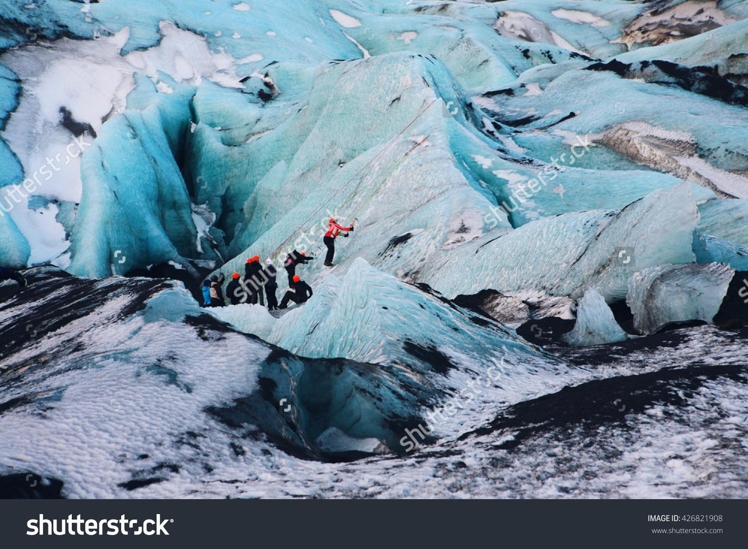 Ice Climbing Solheimajokull Iceland Stock Photo 426821908.