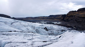 Solheimajokull Glacier Near Skaftafell In Iceland Stock Photo.
