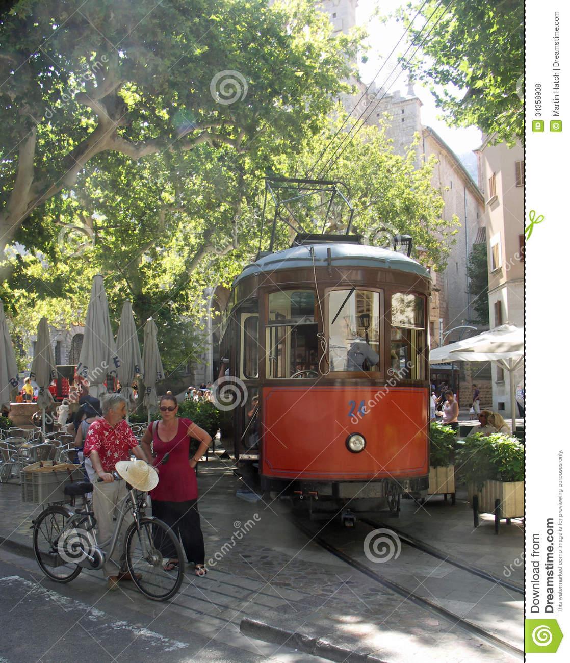 Tram Soller Mallorca Editorial Stock Photo.