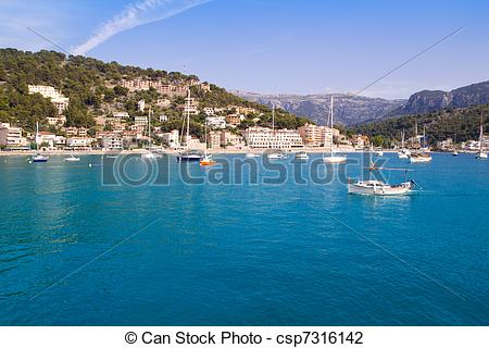Stock Photo of Soller port in Majorca island with tramontana.