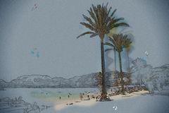 Port De Soller Mallorca Stock Illustrations.