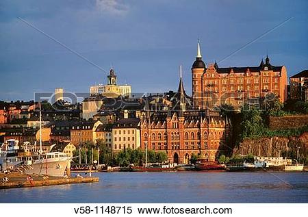 Stock Image of Sweden, Stockholm, Sodermalm district at sunset v58.