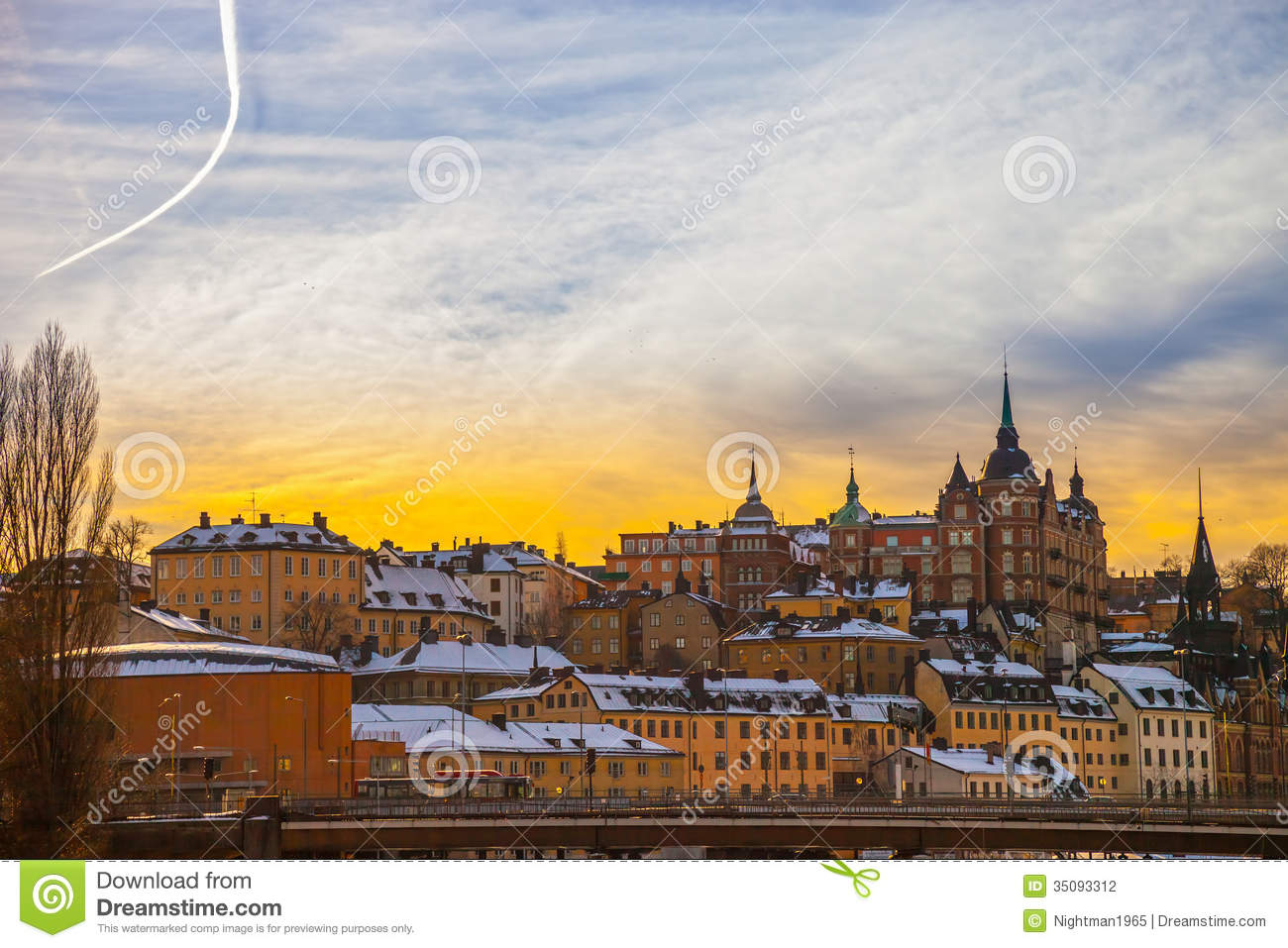 Houses At Sodermalm In Stockholm. Sweden Stock Photo.