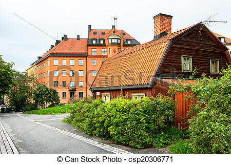 Picture of Houses at Sodermalm in Stockholm Sweden.