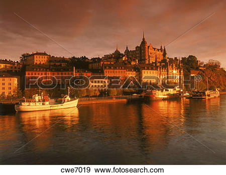Stock Photograph of Sunset against 18th Century buildings at.