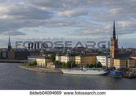 Stock Photograph of View from Sodermalm on the Gamla stan old town.