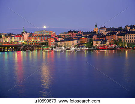 Stock Photograph of Full moon over Sodermalm and Slussen and.