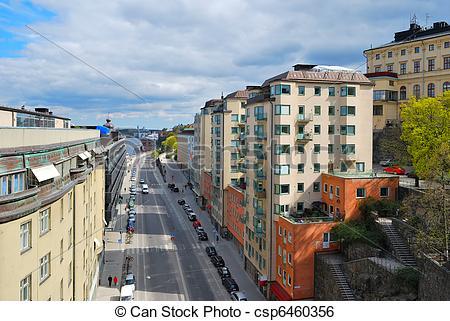 Stock Image of Stockholm, Sodermalm. Katarinavaggen street with.