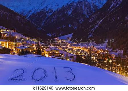 Stock Photography of 2013 on snow at mountains.