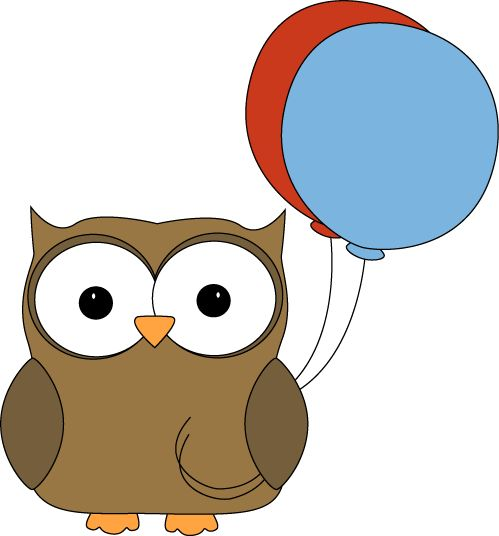 Brown Owl with Balloons Clip Art.