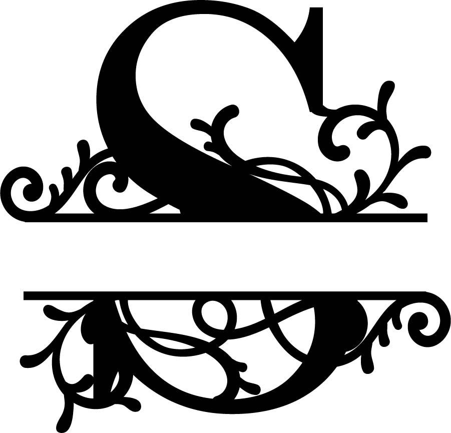Split Monogram Letter S DXF File Free Download.