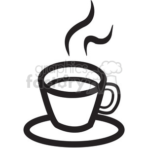 outline of coffee cup with steam clipart. Royalty.