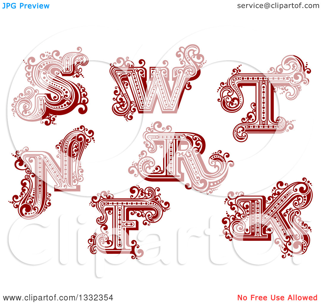 S and r letter clipart.