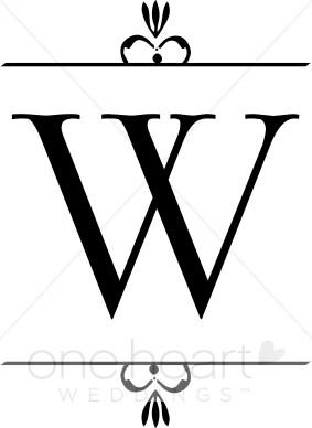 Wedding clipart monogram letter.