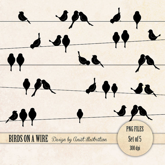 Birds on a wire clipart.