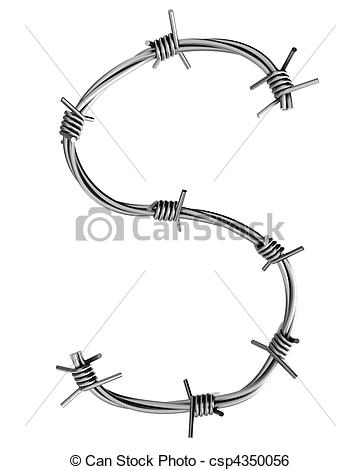 Stock Illustration of Barbed wire alphabet, S.