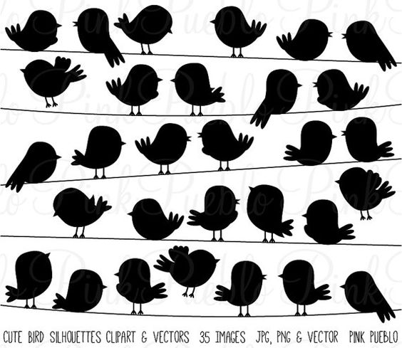 Cute Bird Silhouettes Clipart Clip Art Vectors, Flying and On a.