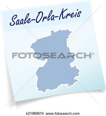 Clipart of Map of Saale.