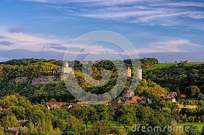 Rudelsburg Castle Ruins In Central Germany Royalty Free Stock.