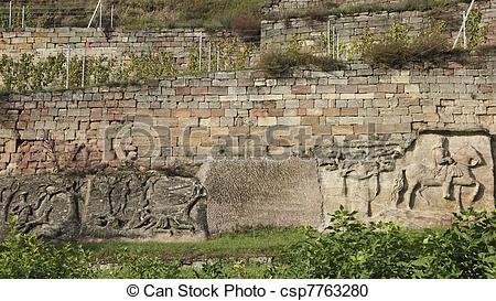Stock Photography of Vineyard and Stone Album in Grossjena in.