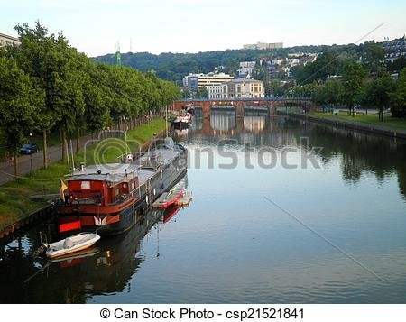 Stock Photo of Saarbrucken Saar River Boat.