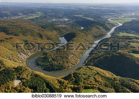 "Stock Photograph of ""Aerial view, loop of the Saar River."