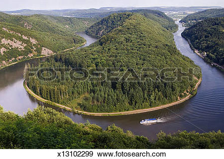 Stock Photograph of River Saar loop at Mettlach with passenger.
