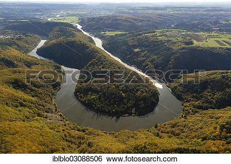 """Stock Images of """"Aerial view, loop of the Saar River, Saarschleife."""