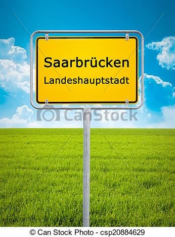 Stock Photo of city sign of Saarbrücken.