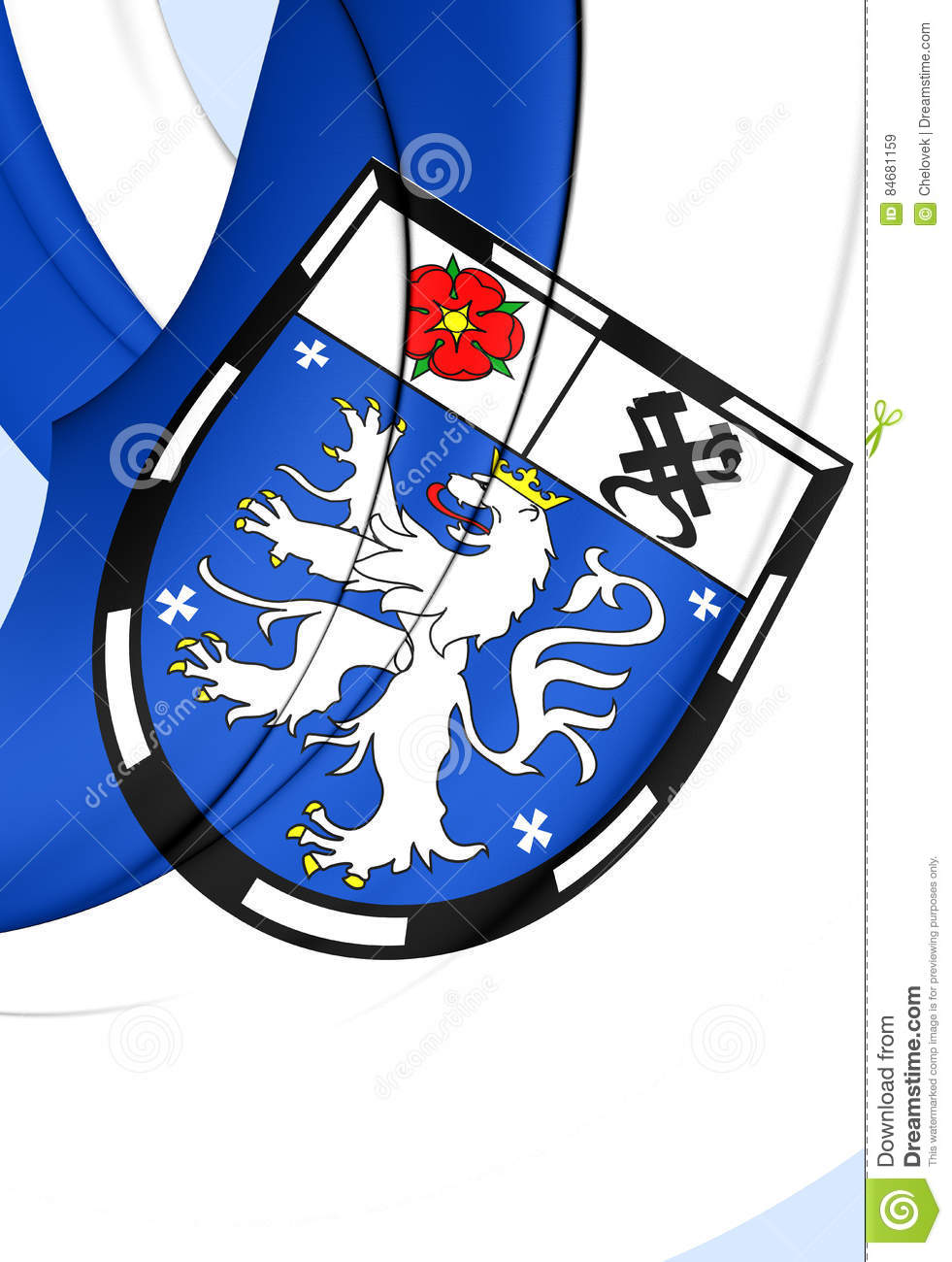 Flag Of Saarbrucken City, Germany. Stock Illustration.