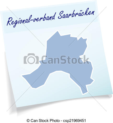 Clipart Vector of Map of Saarbruecken as sticky note in blue.