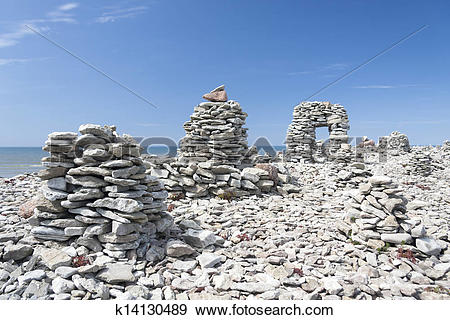 Stock Photograph of Stowed stone objects in Saaremaa, Estonia.