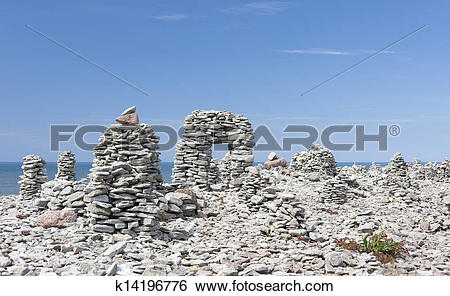 Stock Images of Stowed stone objects in Saaremaa, Estonia.