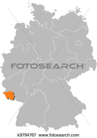 Clip Art of Map of Germany, Saarland highlighted k9794767.