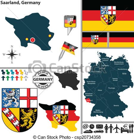 Clipart Vector of Map of Saarland, Germany.