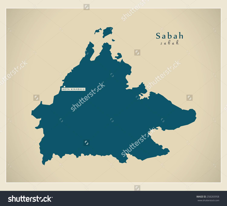 Modern Map Sabah My Stock Vector 258283958.