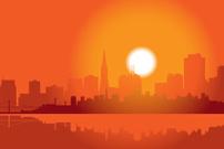 Skyline Von San Francisco IN Der Abenddämmerung premium clipart.