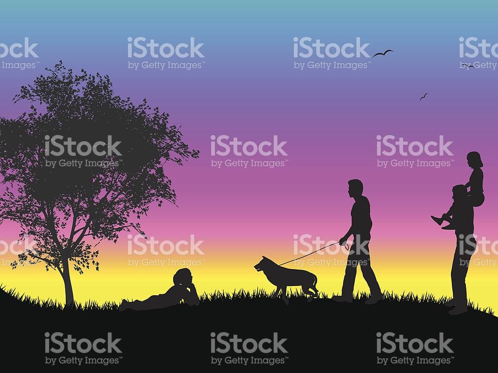 Familie Bei Sonnenuntergang Vektor Illustration 165081039.