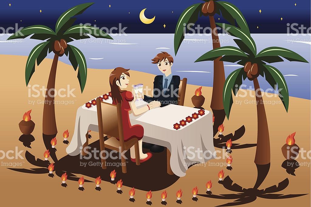 Paar Ein Romantisches Abendessen Bei Kerzenlicht Vektor.