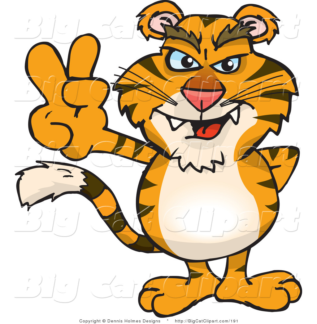 Big Cat Vector Clipart of a Peaceful Saber Tooth Tiger Smiling and.