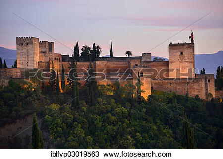 "Stock Photo of ""Alhambra castle on Sabikah Hill, one of the most."