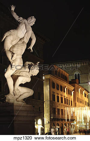 Stock Photography of Statue of Rape of the Sabine women by.